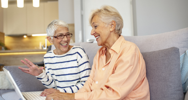 Senior woman learning a new language with apps and tool for seniors