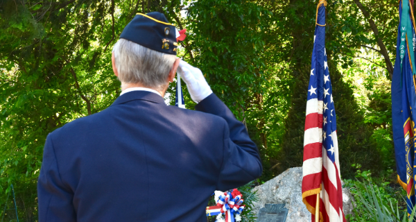 Senior male veteran salutes the American flag