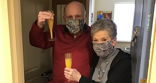 Residents toasting on Mother's Day
