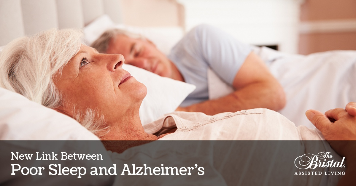 New Link Between Poor Sleep and Alzheimer's, The Bristal Assisted Living, senior man asleep while senior woman lies in bed wide awake and worried