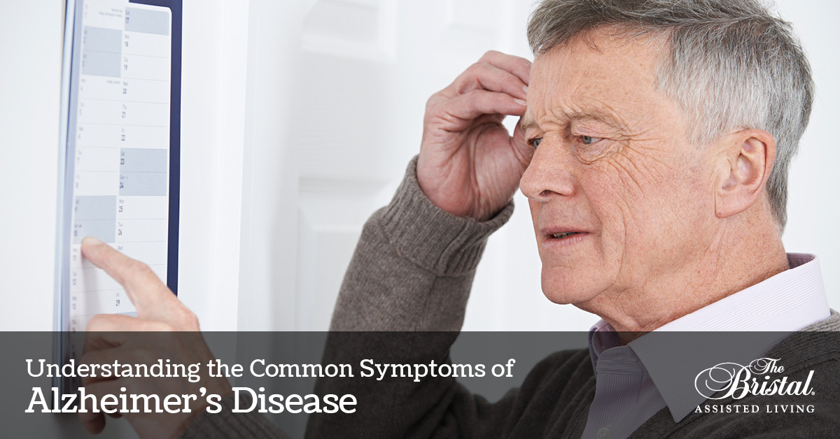 Understanding the Common Symptoms of Alzheimer's Disease, Confused Senior Man With Dementia Looking At Wall Calendar, Bristal logo