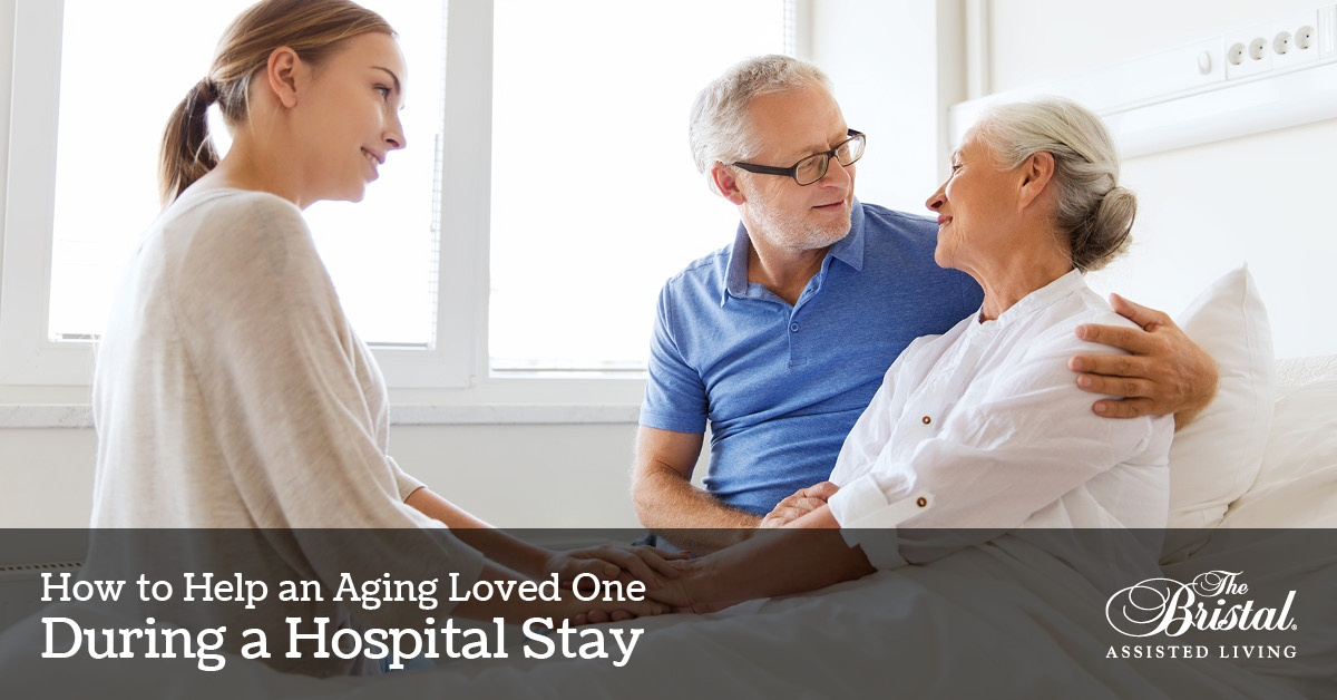 How to Help an Aging Loved One During a Hospital Stay, senior woman being visited by husband and granddaughter in the hospital, Bristal logo