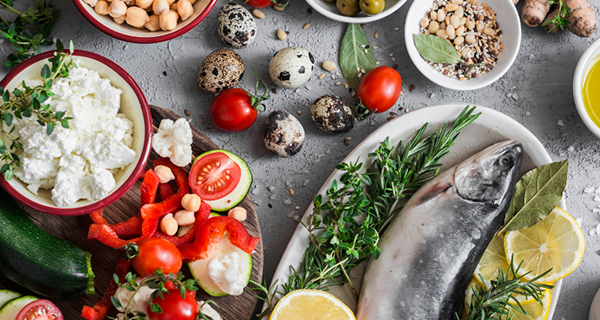 The Mediterranean diet includes plenty of fresh fruits, vegetables, and lean proteins.